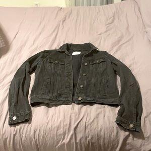 Distressed design denim jacket